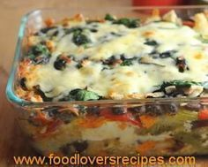 Roasted Veggie Enchilada Casserole, layers of roasted vegetables, salsa verde, corn tortillas and fresh spinach with a little cheese. Make one for dinner, another for the freezer. Veggie Enchilada Casserole, Veggie Enchiladas, Casserole Recipes, Enchilada Bake, Tortilla Bake, Lasagna Recipes, Casserole Dishes, Chicken Recipes, Mexican Food Recipes