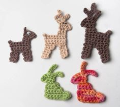 rabbit, deer pattern, crochet free patterns, crochet appliques