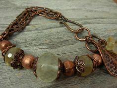 Quartz Copper Chain Bracelet Bead Stone by AdelaDesigns on Etsy, $34.00
