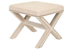 Palmer Ottoman, Cream/Chrome on OneKingsLane.com