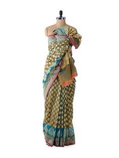 Buy Bunkar Blue-Green Designer Dhoop Chaon Saree Online, , LimeRoad