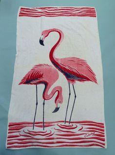 Vintage 1950s Catalina Pink Flamingos Terry Cloth Beach Towel Tiki Miami Gay | eBay