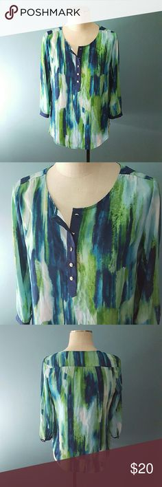 """Watercolor Stripe Chiffon Tunic Blouse Zac & Rachel brand. Women's Small.  Button up top/front. Gold tone buttons. 3/4 length sleeves with button detail. Navy blue, green, and white watercolor """"painted"""" striped design.  100% Polyester / Chiffon fabric. Excellent condition! Worn once. (10.26) Zac & Rachel Tops Blouses"""
