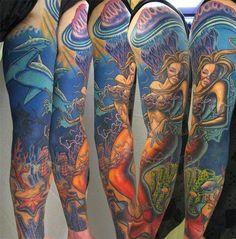 wicked+mermaid+full-sleeve+tattoo