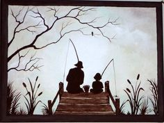 """A Fishing Story, Wall Art, Rustic Home Decor, Original acrylic painting on 9"""" x 12"""" x 3/4"""" Canvas"""