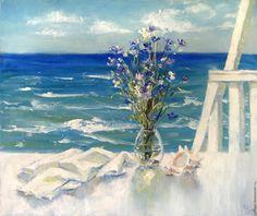 """Купить Живопись маслом """"Отпуск у моря"""" ( картина, море, цветы ) - бирюзовый…"""