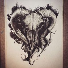 Skull ram and octopus drawing