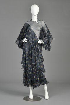 Ossie Clark + Celia Birtwell 1970s Ziggy Stardust Dress | BUSTOWN MODERN sheer ruffle silk dress full sleeves blue floral print