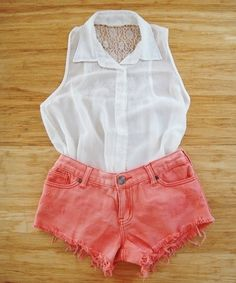 coral shorts and lace top