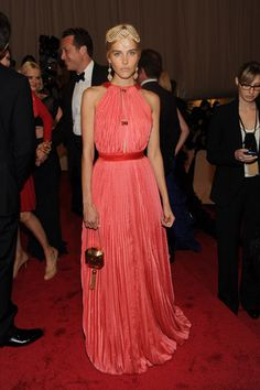 Isabel Lucas in Louise Vuitton at the Costume Institute Gala.  Sour face and horrid accessories, but beautiful dress.