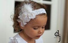 Baptism Vintage Headband/White Headband /baby Girl Headband /Headband/White flower girl /wedding /birthday /photo prop on Etsy, $17.95