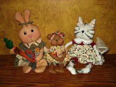 """PRIMITIVE PATTERN, Cat Doll Pattern, Bunny Pattern, Bear Pattern 10"""" Bear, 12"""" Cat, 14"""" Bunny w/Carrot #ArtistBears #Primitivedolls"""