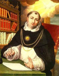 Thomas Aquinas painted by Alonso Lopez de Herrera, OP Saint Dominic, Saint Thomas Aquinas, Catechism, St Francis, St Thomas, Christian Art, Roman Catholic, Religious Art, Deities