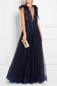 Midnight-blue tulle  Concealed hook and zip fastening along back  67% polyester, 33% polyamide; lining: 100% polyester Dry clean Designer color: Abyss Blue Imported