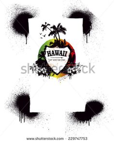 grunge surf shield with summer spirit