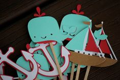 12 Sea Whale Nautical Cupcake Toppers, Birthday, Baby Shower, Nursery Decoration, Baby, Child's Party