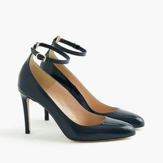Glossy leather pumps with ankle strap j.crew