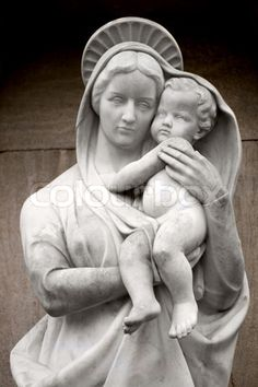 jesus Sculpture | Stock image of 'Virgin Mary with baby Jesus statue'
