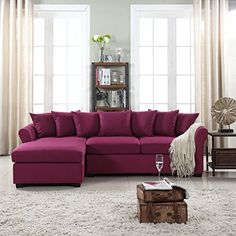Modern Large Linen Fabric Sectional Sofa, L-Shape Couch with Extra Wide Chaise Lounge #purplesofa #purpledecor #funkthishouse