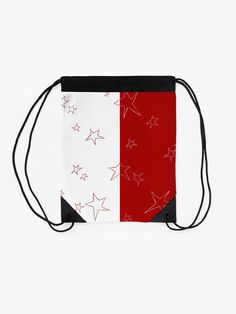 """""""Stars - Red and White"""" Drawstring Bag by LAEC-Shop 