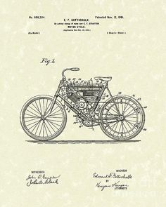 Motorcycle 1901 Patent Art