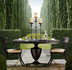 Klismos Round Dining Table and Chairs from RH. Love this outdoor furniture!