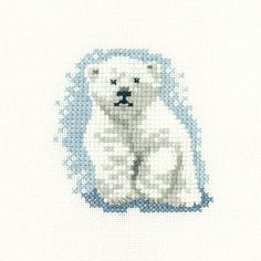 Heritage Crafts Little Friends Polar Bear Cub Cross Stitch Kit