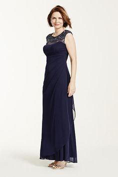 Cap Sleeve Long Jersey Dress with Beaded Detail XS5531