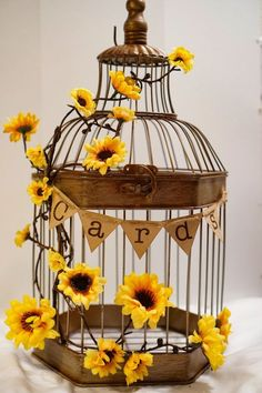 23 bright sunflower wedding decoration ideas for your rustic wedding sunflower wedding card holder by paperwell on etsy junglespirit Image collections