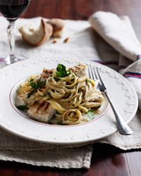 Linguine Piccole with Grilled Swordfish and Parsley Anchovy Sauce  - Italian Seafood  from Food & Wine