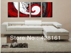 Handmade 4 Piece Black White Red Abstract Wall Art Oil Painting On Canvas Large Pictures For Home Decor Unique Gift Fee Shipping