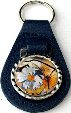 Enchanted Butterflies Large White Flower Blue Leather Key Fob Ring FOB-0190