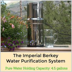 This impressive water purification system is called the Imperial Berkey.  It can hold up to 4.5 gallons of pure water.