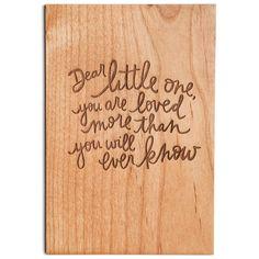 Cardtorial - wooden card - Dear little one - $10