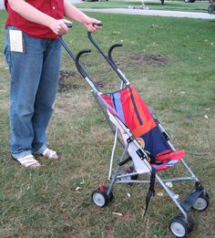 Instructions for adding umbrella stroller handle extensions.