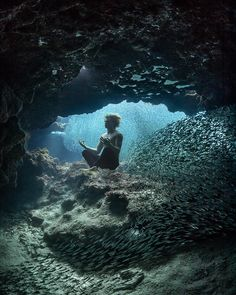 Breathtaking underwater shots by André Musgrove, a multi-talented photographer, filmmaker, freediver, and scuba diving instructor from the little island of… Underwater Model, Underwater Caves, Underwater Photographer, Underwater Photos, Under The Water, Under The Sea, Bahamas Island, Nassau Bahamas, Diving Course
