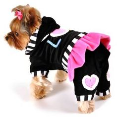 Hip Doggie - Love Jumper - Too cute!!!  Soft stretch velvet one-piece hooded jumpsuit with skirt.  Embellished with crocheted hearts and let... $32.00 (sale)