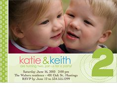 Twins 2nd birthday invitation