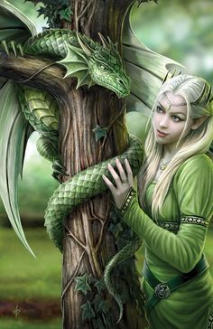 Kindred Spirits Dragon Greeting Card Anne Stokes Elf Maiden with Dragon Greeting Card