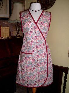 Wwii 1940s 50s Vintage Wrap Around Apron Pinny Floral