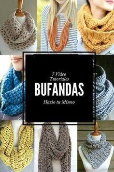 Elige tu modelo y ponte manos a la obra con tus agujas. Diy Crochet Scarf, Crochet Baby Hats, Crochet Scarves, Crochet Shawl, Knit Crochet, Knitting Patterns, Crochet Videos, Crochet Fashion, Cowls