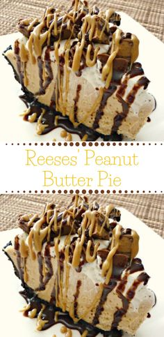 this Reese's Peanut Butter Pie is sure to knock your socks off. With a delicious no-bake peanut butter cheesecake filling and topped with Reese's Miniatures, you can't go wrong with this easy dessert. Reese Peanut Butter Pie, Peanut Butter Desserts, Peanut Butter Cookies, Yummy Cookies, Peanut Butter Lasagna, Chocolate Peanut Butter Cheesecake, Cookie Butter, Dessert Simple, Chocolate Graham Crackers