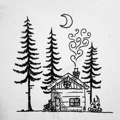 Finishing up the night with a little cabin in the woods. #drawing #art #cabin #woods #trees #pinetree #fire #chimney #penandink #ink #micron #moon #night #smoke #doodle #sketchbook #tattoo #portland #oregon