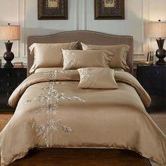 100 Egypt Cotton Coffee Bule Embroidery Luxury Oriental Bedding Set