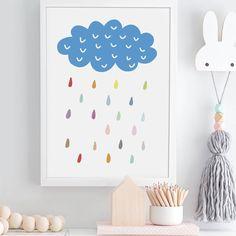 Cloud And Colour Rain Drops Nursery Art Print