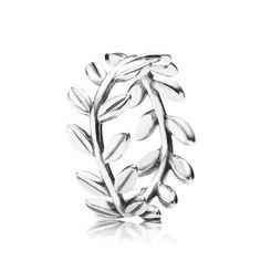 Tam. 12 / 52 Anel de Prata de Lei em formato de coroa formada por Folhas de Louro.
