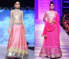 Mirror Work Pink Bridal Lehenga Designs