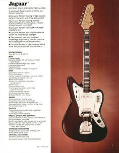 Fender Jaguar - 1972 Fender catalogue - page 5 Guitar Books, Music Guitar, Playing Guitar, Acoustic Guitar, Fender Vintage, Vintage Ads, Vintage Posters, Fender Jaguar, Fender Electric Guitar