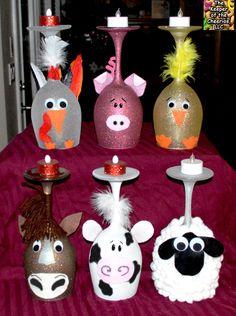 farm animal wine glasses