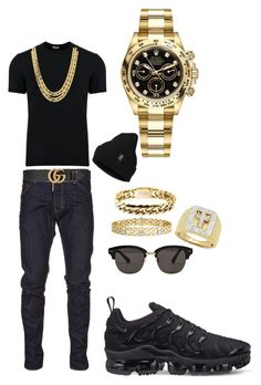 Midnight blue by tikitress on Polyvore featuring Dolce&Gabbana, Dsquared2, NIKE, Rolex, Gentle Monster, Gucci, Rocawear, men's fashion and menswear